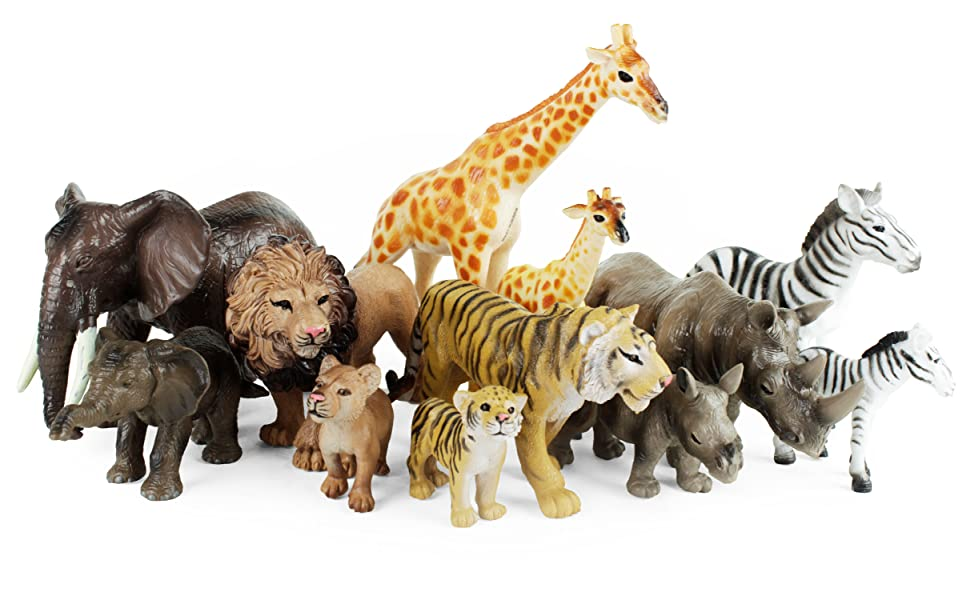 a massive variety pack of realistic safari animals, giraffe, lion, tiger, zebra, elephant