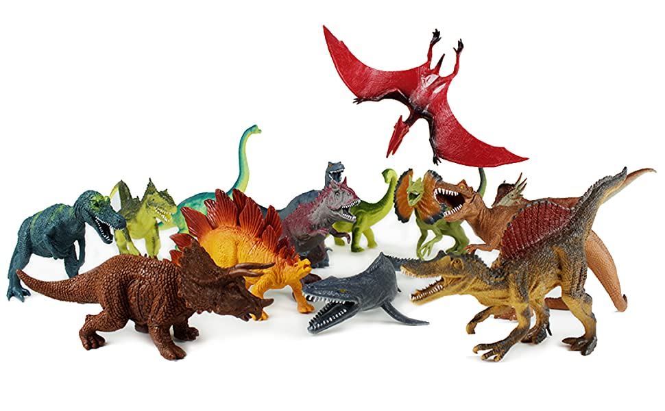 a massive pack of jurassic park and jurassic world dinos, t-rex, triceratops, pterodactyl, battle
