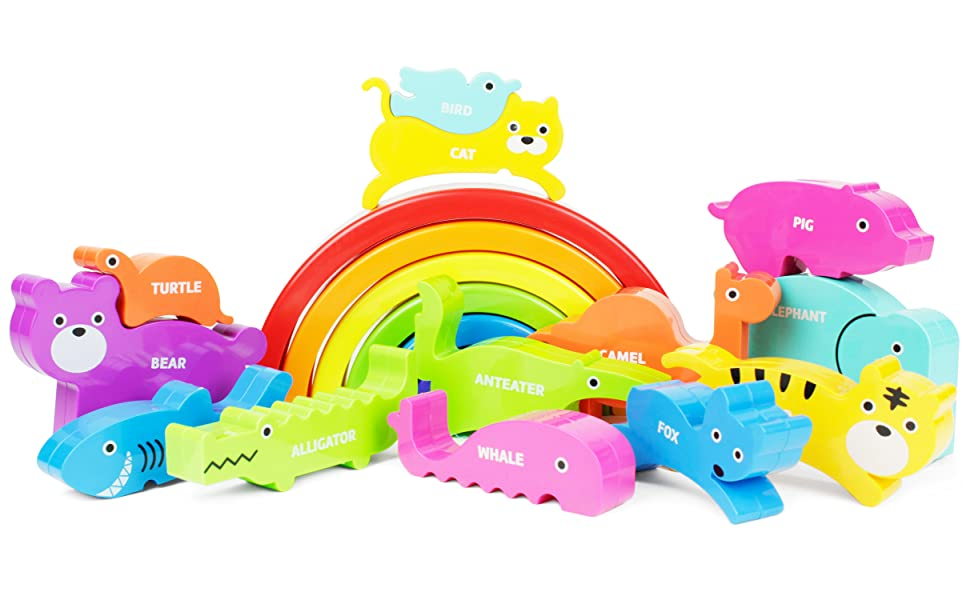 Amazon Com Boley Rainbow Stacking Block Toy Set Baby Animal