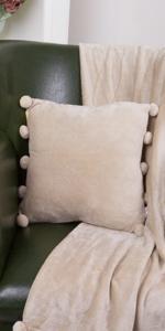 Ultra Cozy Flannel Pom Pom Throw Pillows