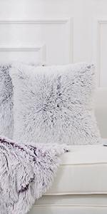 Ultra Cozy Shaggy Faux Fur Throw Pillows