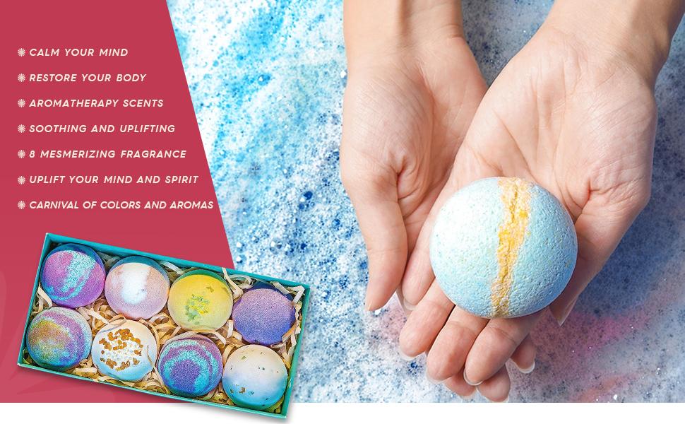 Bath Bombs Gift Set - 8 Luxury All Vegan Bubble Fizzies