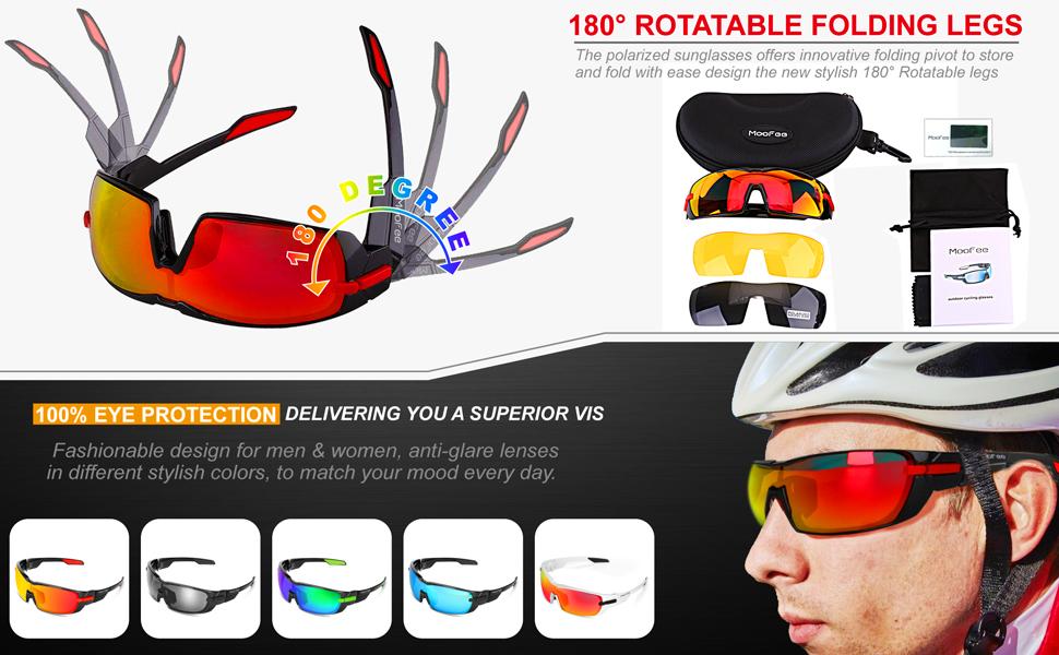 7a9449db53 Amazon.com  Moofee Polarized Sports Sunglasses with Rotatable Legs ...