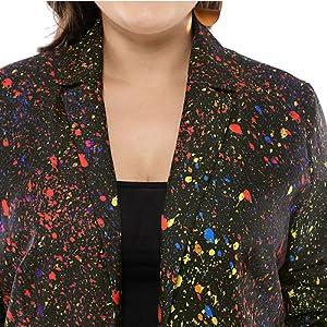 Agnes Orinda Women's Plus Size Paint Splatter Zipper Long Sleeve Printed Blazer