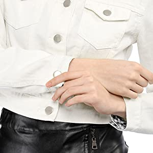 Allegra K Women's Button Down Long Sleeves Basic Casual Cropped Denim Jean Jacket