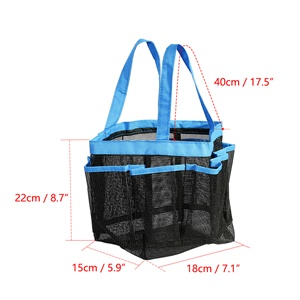 Portable Shower Caddy Tote Bag with 7 Pockets 21 x 18 x 22cm Breathable Mesh New
