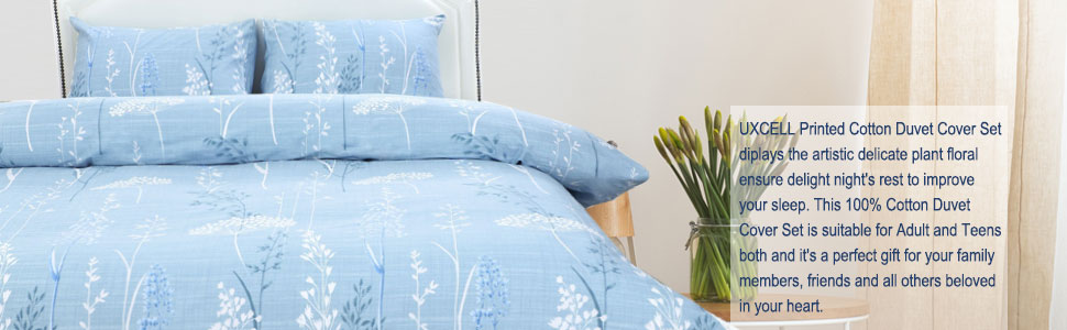 twin queen king size blue branches floral duvet cover bedding set with pillow sham 300 thread count