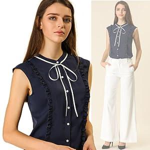 Allegra K Women's Cute Tie Neck Sleeveless Ruffle Button Down Chiffon Summer Shirt