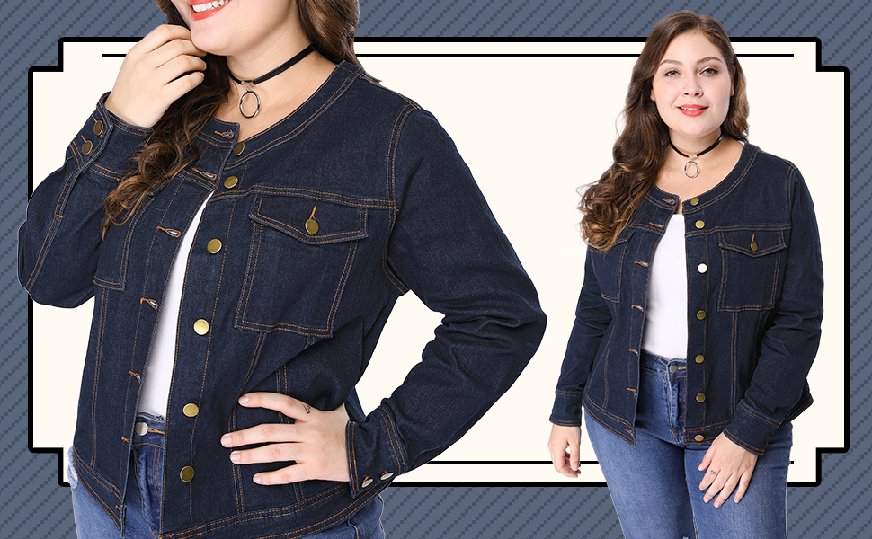 Agnes Orinda Womens Plus Size Long Sleeves Collarless Denim Jacket