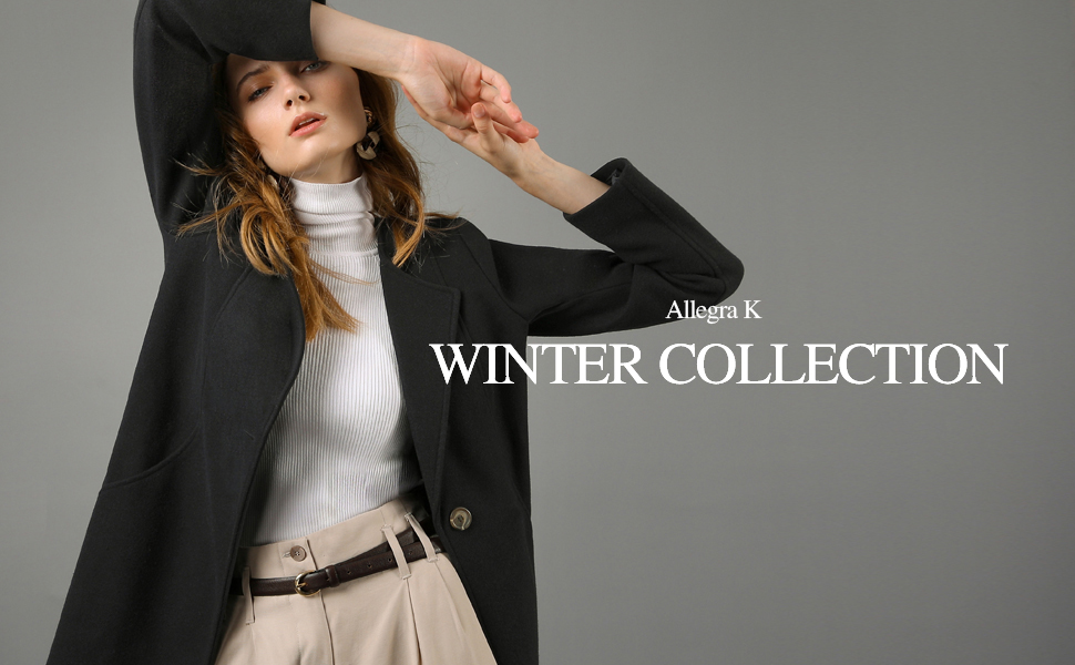 + Allegra K Women's One Button Winter Long Trench Coat