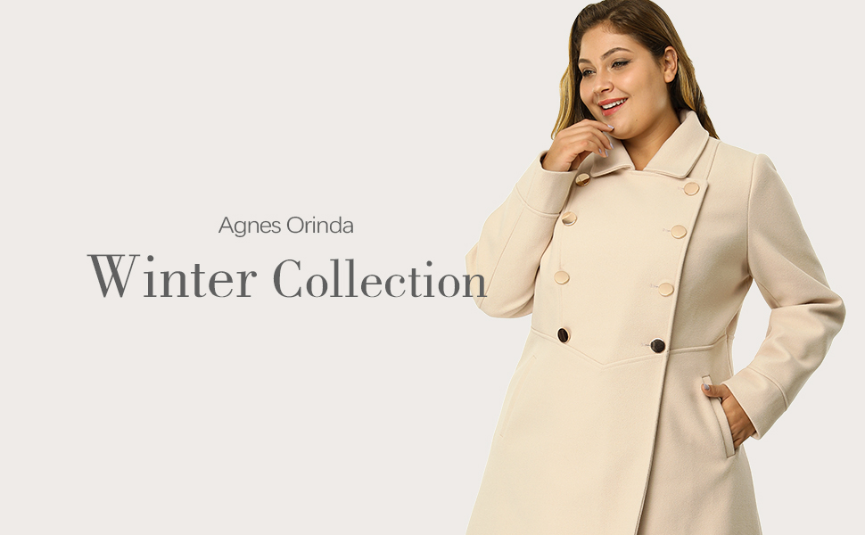 Women/'s Plus Size A Line Turn Down Collar Double Breasted Coat