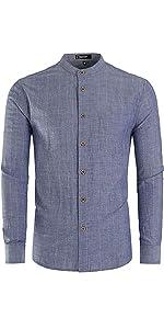 """Stand Collar Shirt,  Washed Cotton stripe Shirt"""