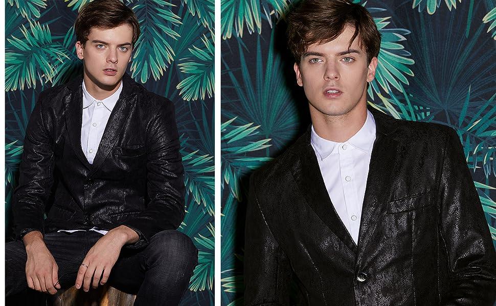 Lars Amadeus Men Luxury Fashion Stylish Print Slim Fit Wedding Dinner Prom Dress Party Blazer