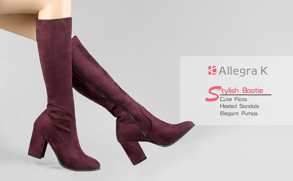 a079341ed06 Allegra K Women s Side Zipper Chunky Heel Knee High Boots