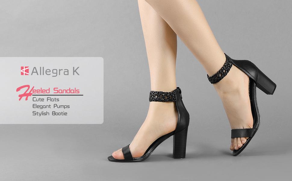 2178ded63e7 Allegra K Women s Braided Chunky Heel Ankle Strap Sandals