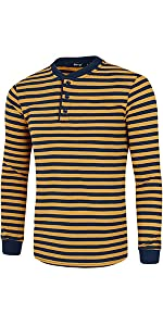 """Henley Shirt,  Cotton Pullover,  Long Sleeve Casual Shirt, Striped T Shirts"""