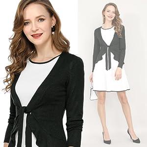 Allegra K Women's Tie Front Ruffled Hem Crop Knit Cardigan