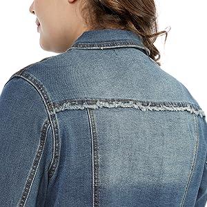 Agnes Orinda Women's Classic Plus Size Denim Jacket