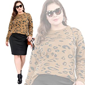 b7fec4f8fe5388 Agnes Orinda Women's Plus Size Crew Neck Long Sleeve Leopard Sweater ...