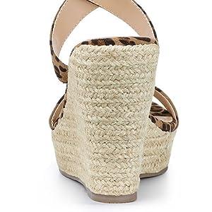 Allegra K Women's Slingback Crisscross Espadrille Wedges Heel Sandals