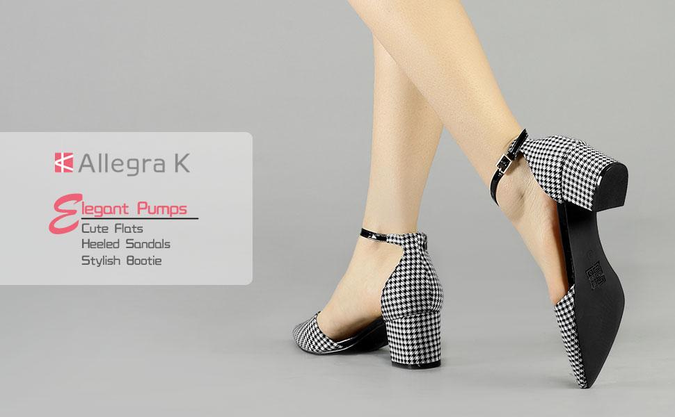 9de7c8d1c97 Allegra K Women s Houndstooth Block Heel Ankle Strap Pumps