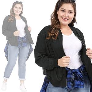uxcell Women's Plus Size Contrast Trim Zip Pocket Lightweight Bomber Jacket