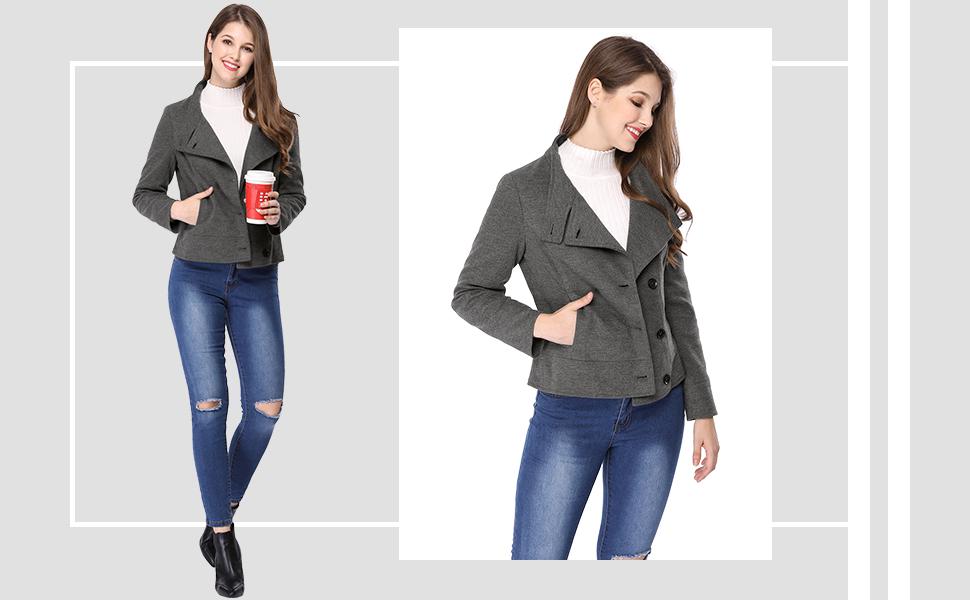 Allegra K Women's Stand Collar Single Breasted Slant Pockets Coat