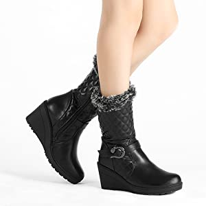 7cc4e24073e5 ELEGANT ESSENTIAL A plush cuff lends a luxurious touch to a stylish wedge  boot detailed with a quilted shaft and a decorative buckled strap.