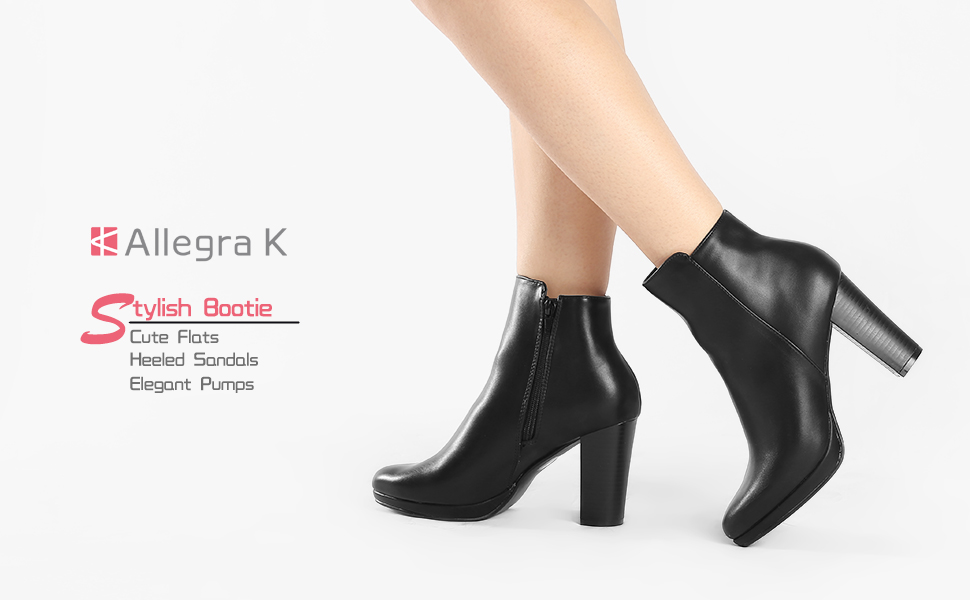 Allegra K Women/'s Slip On Zip Round Toe Heel Ankle Boots