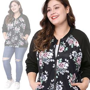 Agnes Orinda Womens Plus Size Zipper Raglan Sleeves Floral Bomber Jacket
