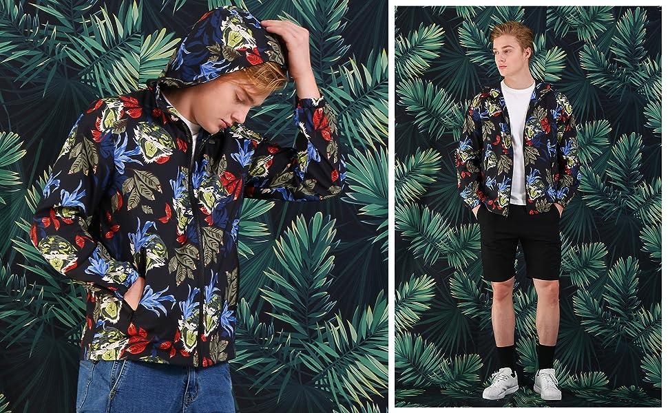 Lars Amadeus Men Windbreaker Jacket Zip Up Lightweight Print Athletic Hood Jackets