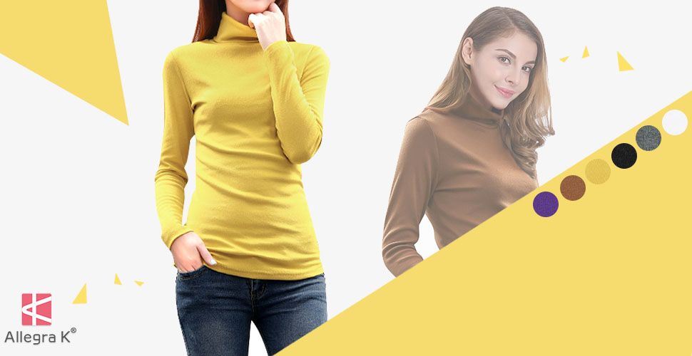 3c3b66a7ab9 Allegra K Women s Long Sleeves Turtle Neck Slim Fit Top at Amazon ...