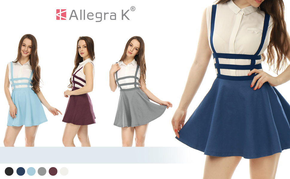 36cbccb69df Amazon.com  Allegra K Women s Pleated A-Line Elastic Waist Braces ...