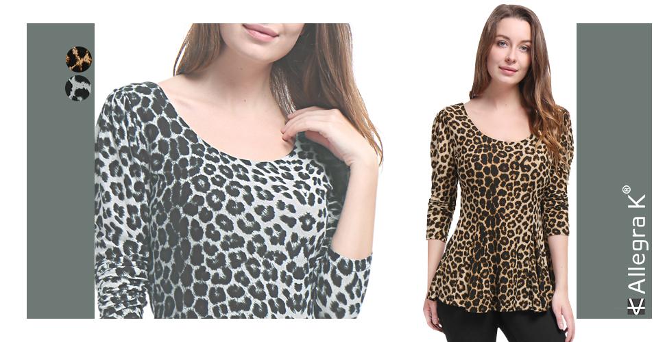 8c5f96ea9c9bba Amazon.com: Allegra K Women's Long Sleeves Scoop Neck Leopard Prints ...