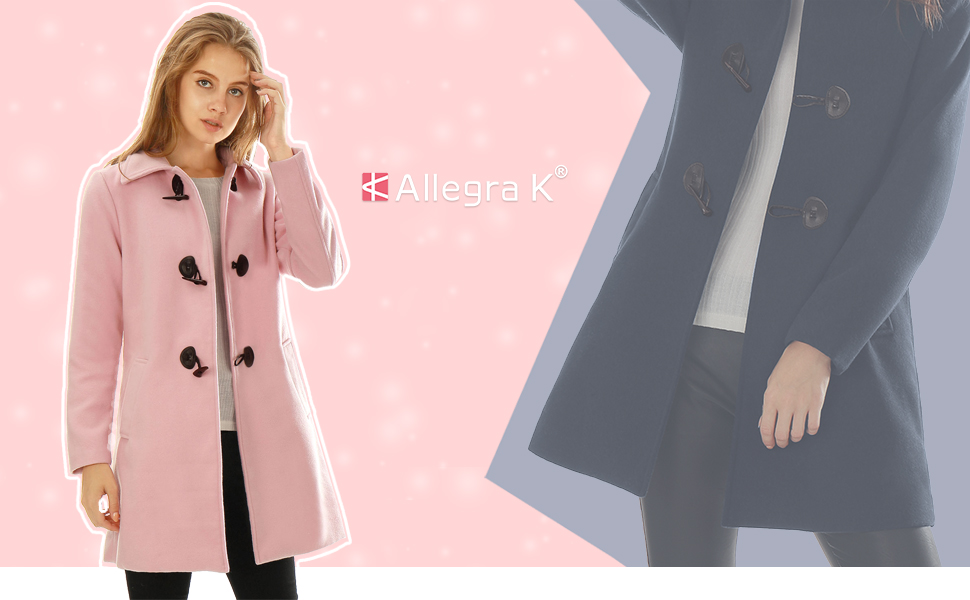 Allegra K Womens Turn Down Collar Single Breasted Winter Outwear Trench Coat