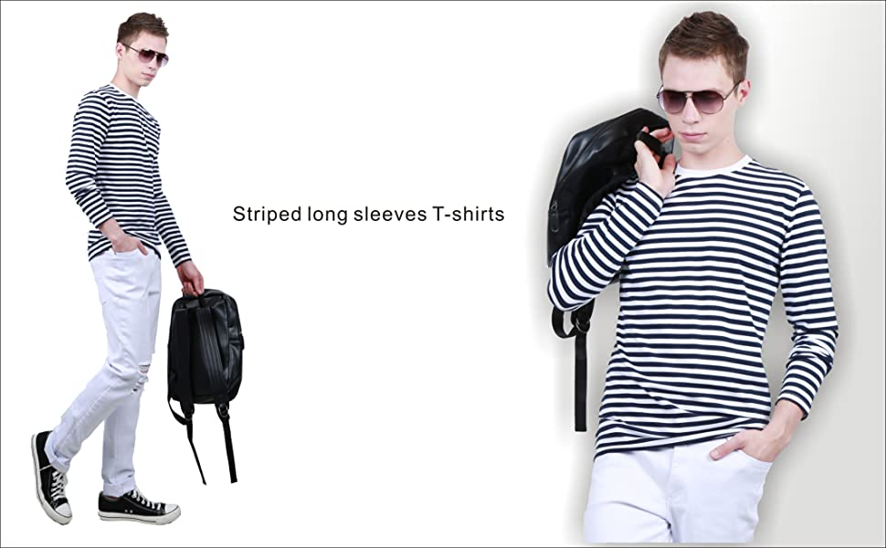 9edac718839f4e uxcell Men Casual Pullover Basic Crew Neck Long Sleeve Striped Tee T ...