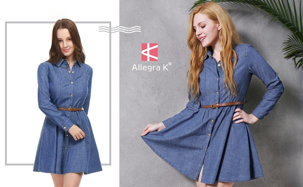 Allegra K Women's Denim Belted Flared Above Knee Shirt Dress