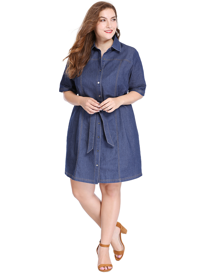Uxcell Womens Plus Size Half Sleeves Belted Above Knee Denim Shirt