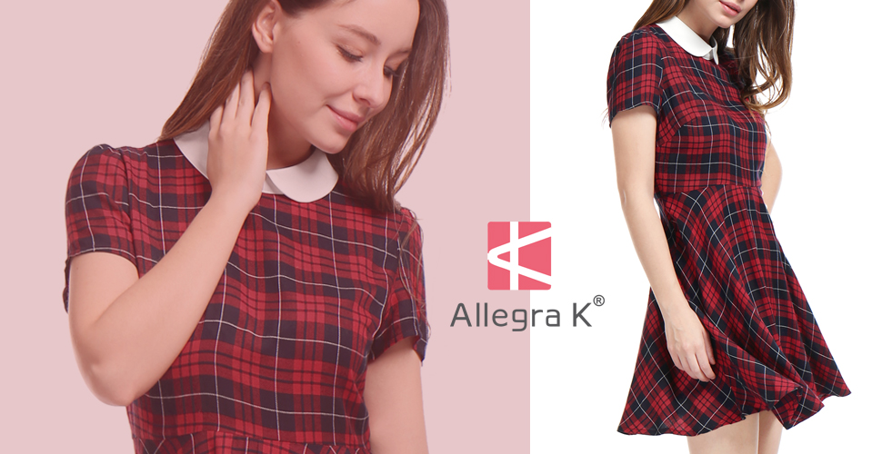 484fac0ccfbac3 Allegra K Women`s Plaids Contrast Peter Pan Collar Puff Sleeves Above Knee  Halloween Dress
