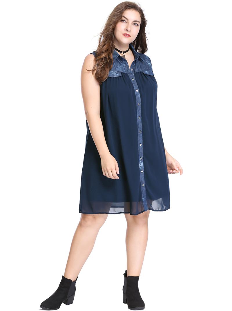 65d6c29e8e Womens Plus Size Denim Shirt Dress