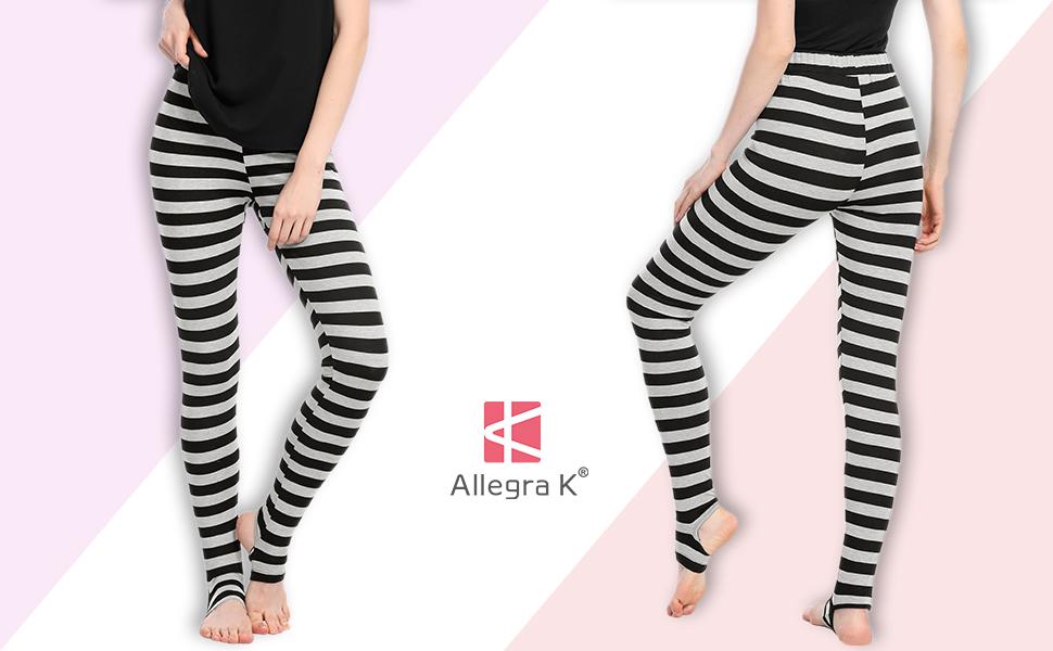 dcb8fb9c880f23 Allegra K Women's Leggings Stripes High Waist Elastic Waistband ...