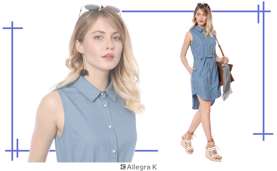 78624c667f Allegra K Women s High Low Hem Belted Pearl Button Chambray Shirt Dress