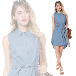4101898b53 Update your dress collection with this sleeveless shirt dress. Get a trendy pearl  button ...