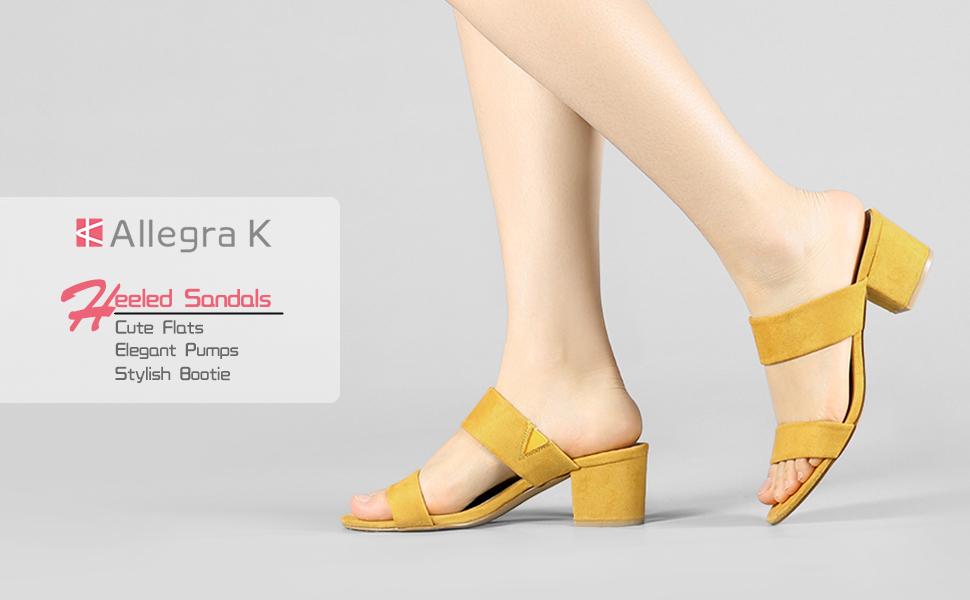 Allegra K Womens Block Heel Dual Straps Slide Sandals