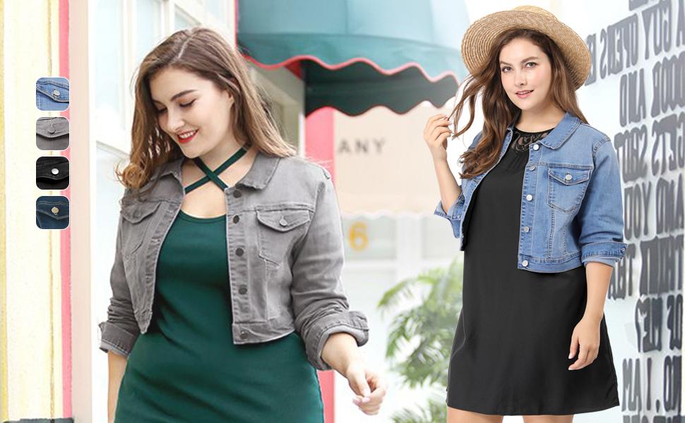 Agnes Orinda Women's Plus Size Button Closed Cropped Denim Jacket