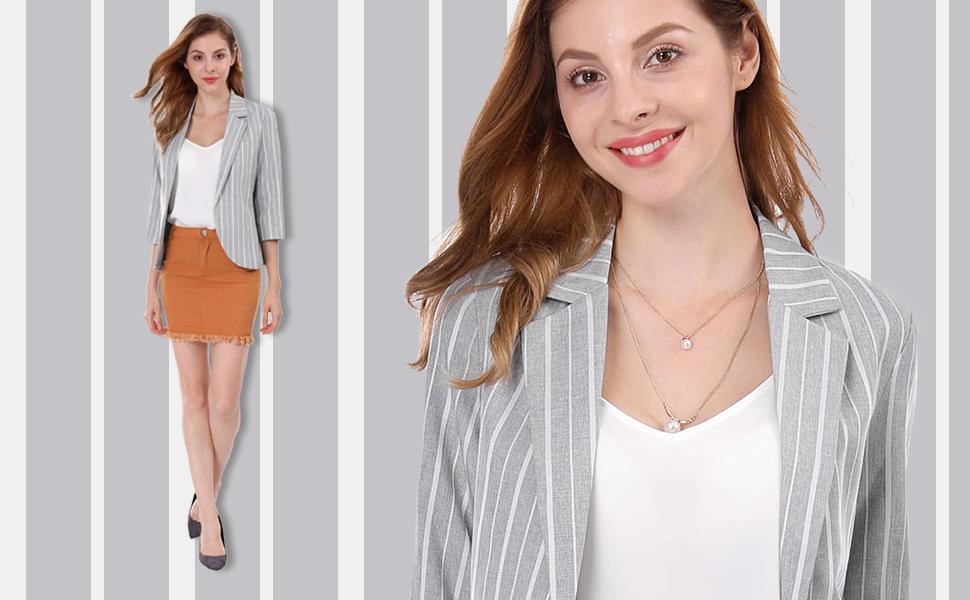 Women's Striped 3/4 Sleeves Open Front Notched Lapel Blazer