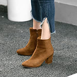 Round Toe Block Heel Ankle Boots