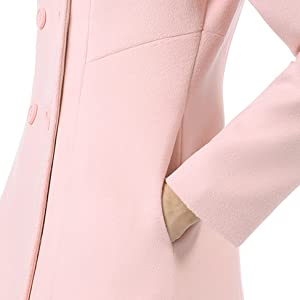 Allegra K Women's Peter Pan Collar Double Breasted Trench Coat