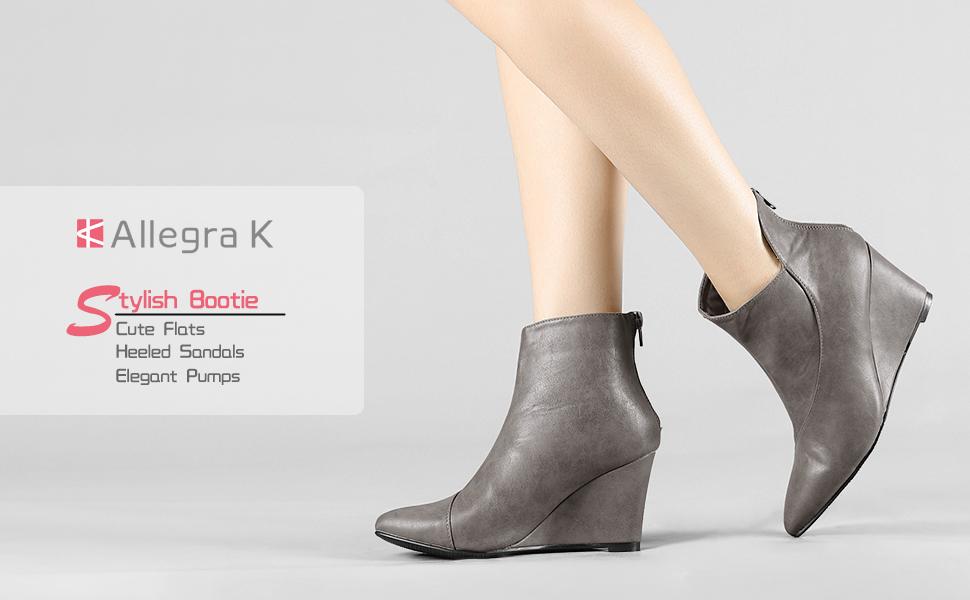 Allegra K Women's Pointed Toe Zipper Wedge Boots