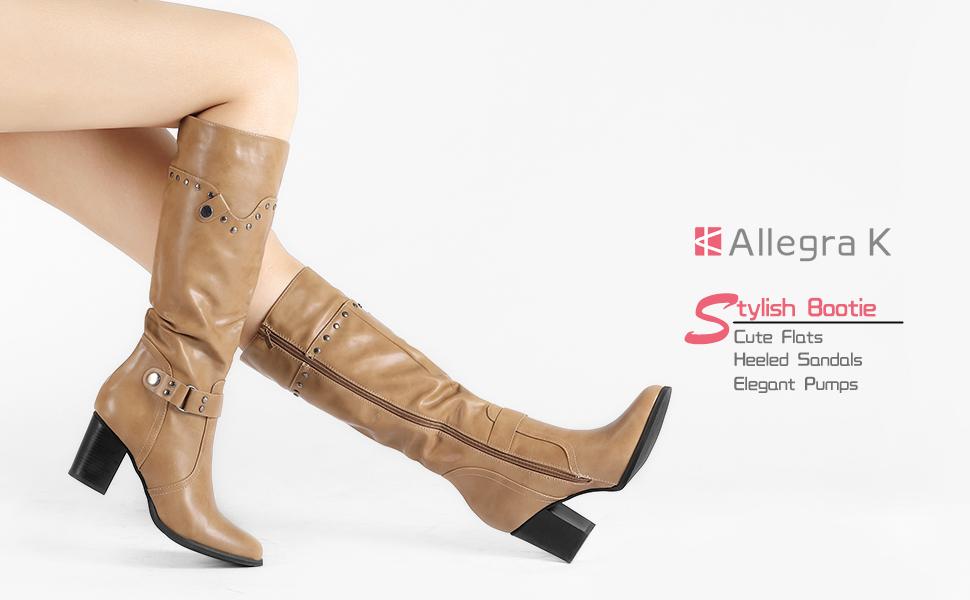 8a7c623f2ce7 Allegra K Women s Strap Chunky Heel Riding Boots